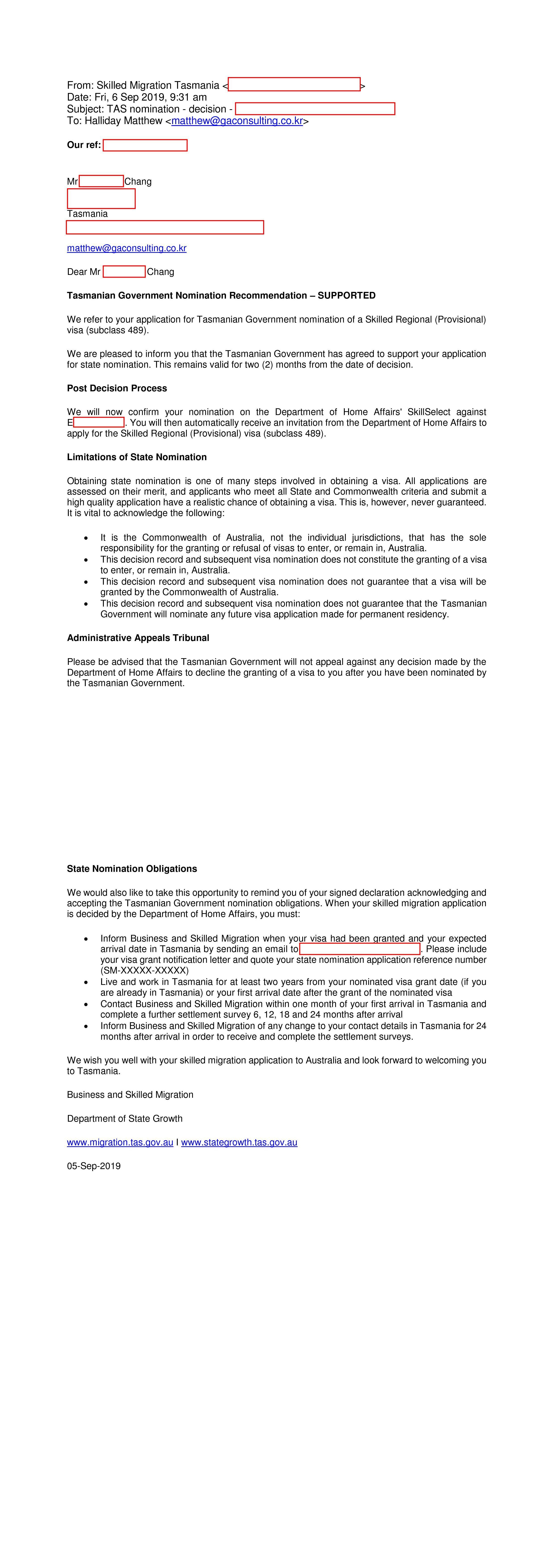 489 nomination grant letter